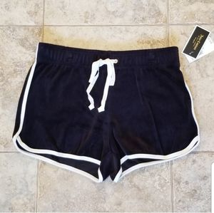 NEW JUICY COUTURE BLACK LABEL VELOUR BLACK SHORTS
